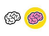Stylized brain icon or logo, black line and color. Simple flat cartoon style human brain vector illustration.