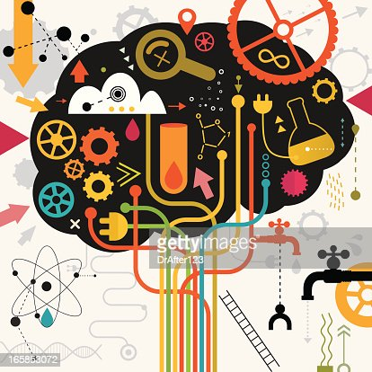 Brain In Action Making Research : Vector Art