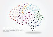 Colorful brain mapping concept with dots, circles and lines