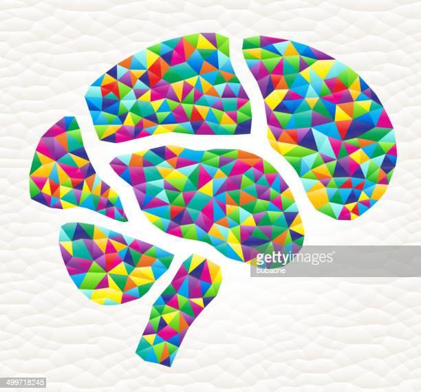 Brain on triangular pattern mosaic royalty free vector art