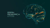 Brain research futuristic medical ui. IQ testing, artificial intelligence virtual emulation science technology. Dot grid