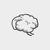 Brain sketch hand drawn doodle icon for web, mobile and infographics. Hand drawn vector dark grey icon isolated on light grey background.