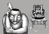 Woman washing man's brain. EPS 10 File.