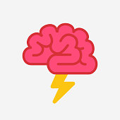 Brain like cloud with lightning, brainstorm, power of mind concept