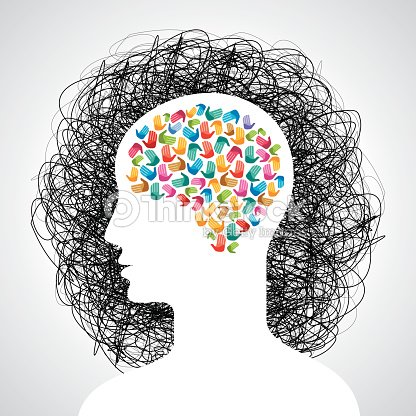 Brain With Many Hands Creative Idea Vector Art