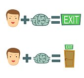 Man find a way . face plus brain equal to exit. brains help to find a way out. Stock flat vector illustration.