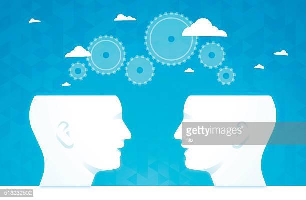 Brainstorming Zahnräder denken Personen