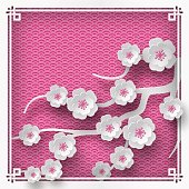Vector illustration of branch of cherry blossoms on pink background with oriental vintage pattern frame for chinese new year greeting card, paper cut out style