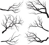 A vector illustration of Branch Silhouettes.