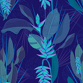 Branch tropical heliconia flower leaves seamless background. Watercolor realistic drawing in flat blue color style. isolated on white background. Vector illustration