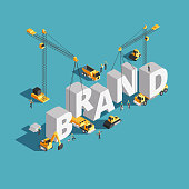 Brand building construction 3d isometric vector concept with construction machinery and workers. Build construction brand conceptual illustration