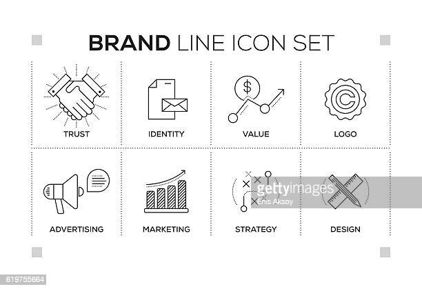 Brand keywords with monochrome line icons