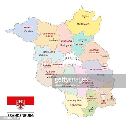 Brandenburg Administrative And Political Map With Flag Germany
