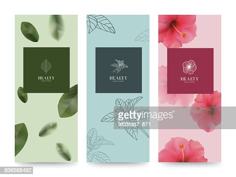 Branding Packageing Flower nature background, banner voucher, spring summer tropical, vector illustration : Vector Art