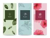 Branding Packageing Flower nature background, banner voucher, spring summer tropical, vector illustration