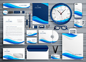 brans stationery design for your business in blue wave style