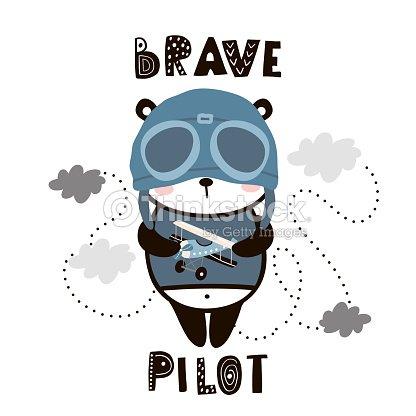 Brave Panda Mignon Pilote Dessin Anime Bebe Panda Impression