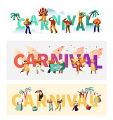 Brazil Carnival Exotic Costume Typography Poster Set. Wing Bikini Latino Woman Colorful Parade. Man Play Tropical Music for Rio Happy Festival Banner Print Design Flat Cartoon Vector Illustration