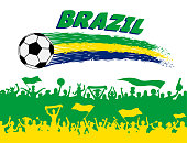 Brazil flag colors with soccer ball and Brazilian supporters silhouettes. All the objects, brush strokes and silhouettes are in different layers and the text types do not need any font.