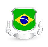 Brazil flag in shield and ribbon. Vector illustration.