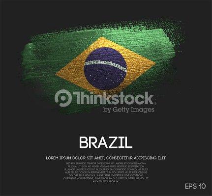 brazil flag made of glitter sparkle brush paint vector arte vetorial