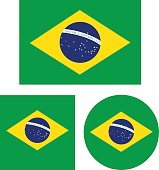 vector illustration of Brazil flags
