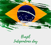 Brazil Independence day background. Abstract grunge brushed watercolor flag of Brazil. National holiday template background.