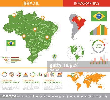 Brazil Infographic Map Illustration Vector Art Getty Images - Brazil map illustration