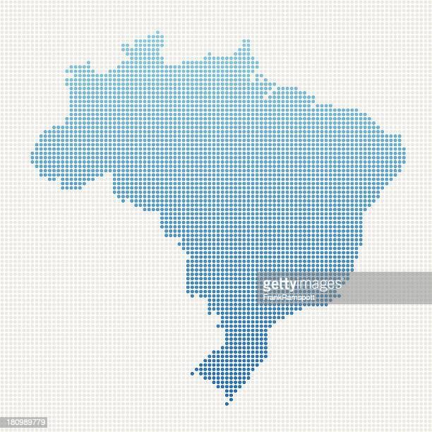 Brasilien Karte Blau gepunktet
