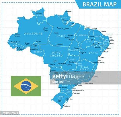 Brazil Map Vector Art Getty Images - Brazil map illustration