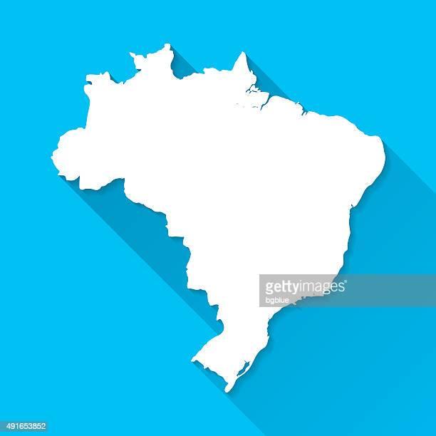 Brasilien Karte auf blauem Hintergrund, lange Schatten, Flat-Design