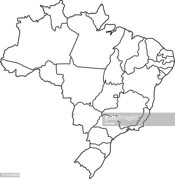 Brasilien Karte Kontur weißem Hintergrund