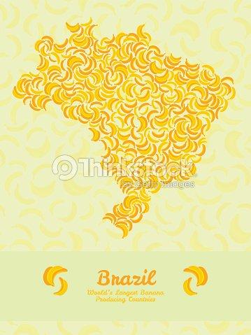 Brazil Map Poster Or Card Banana Illustration Healthy Food Poster - Brazil map illustration