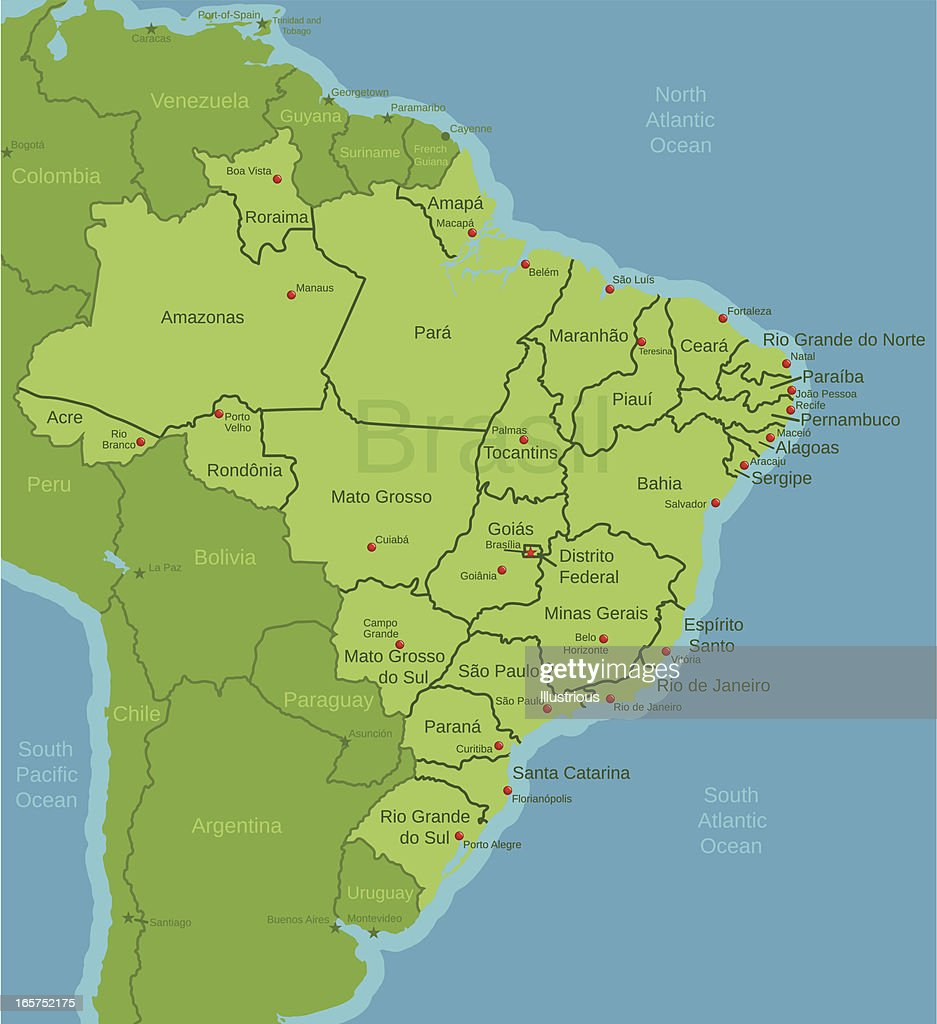 Brazil Map Showing States Vector Art Getty Images - Brazil states map