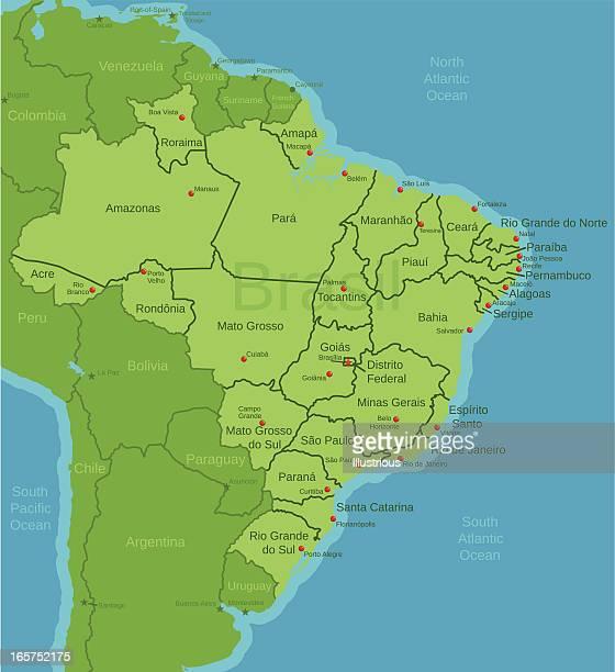 Karte von Brasilien mit Staaten