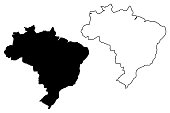 Brazil map vector illustration, scribble sketch Brazilia