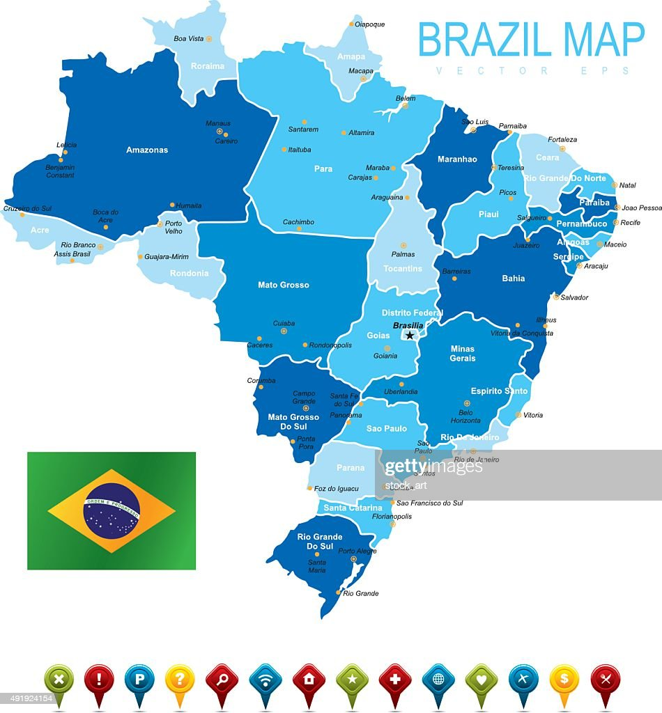Brazil Map With Flag Vector Art Getty Images - Brasil map