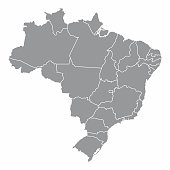 Illustration of a gray Brazil Map with states borders