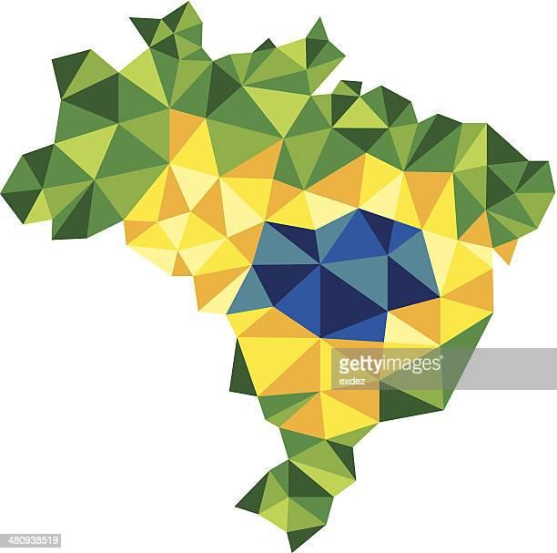 Brasilien Karte mit dreieckigen Flagge
