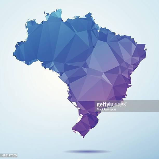 Brasilien Karte Blaue Polygon Triangle