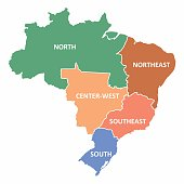 Brazil regions map with no states limits