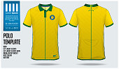 Brazil Team Polo t-shirt sport template design for soccer jersey, football kit or sportwear. Classic collar sport uniform in front view and back view. T-shirt mock up for sport club. Vector Illustrati