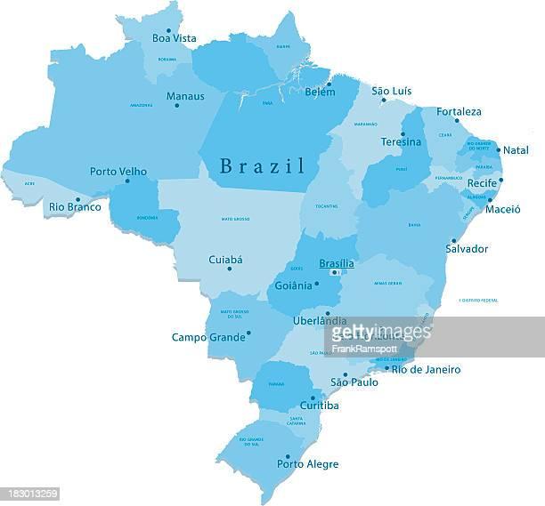 Brasilien Vektor-Karte Regionen Isoliert