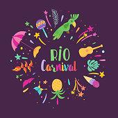Brazilian Carnival illustration with Festive Elements, Maracas and Tropical Birds. Brazil Traditional Festival Design for Banner. Vector illustration