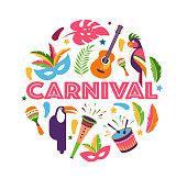 Brazilian Carnival, music festival, masquerade flyer template, vector design