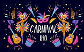 Brazilian Carnival, music festival, masquerade flyer template, colorful vector design
