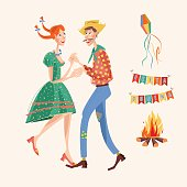 Brazilian holiday Festa Junina (the June party). Couple dancing traditional dance. Vector illustration