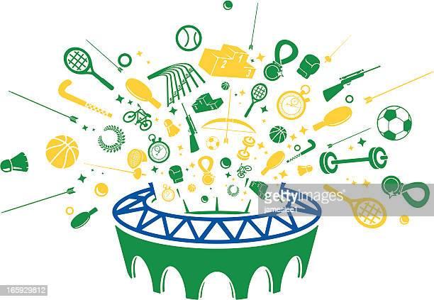 Brasilianische Sommer Sport Symbole