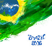 Brazilian watercolor flag. Brasilia 2016. Watercolor hand drawn national flag. Watercolor background in Brazilian colors concept. Template for cover design, advertising, banner, card, brochure, flyer