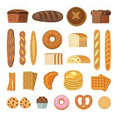 Vector illustration of  bakery products icons - bread, baguette, pretzel, ciabatta, croissant, cupcake, waffles and cookies. Isolated on white.